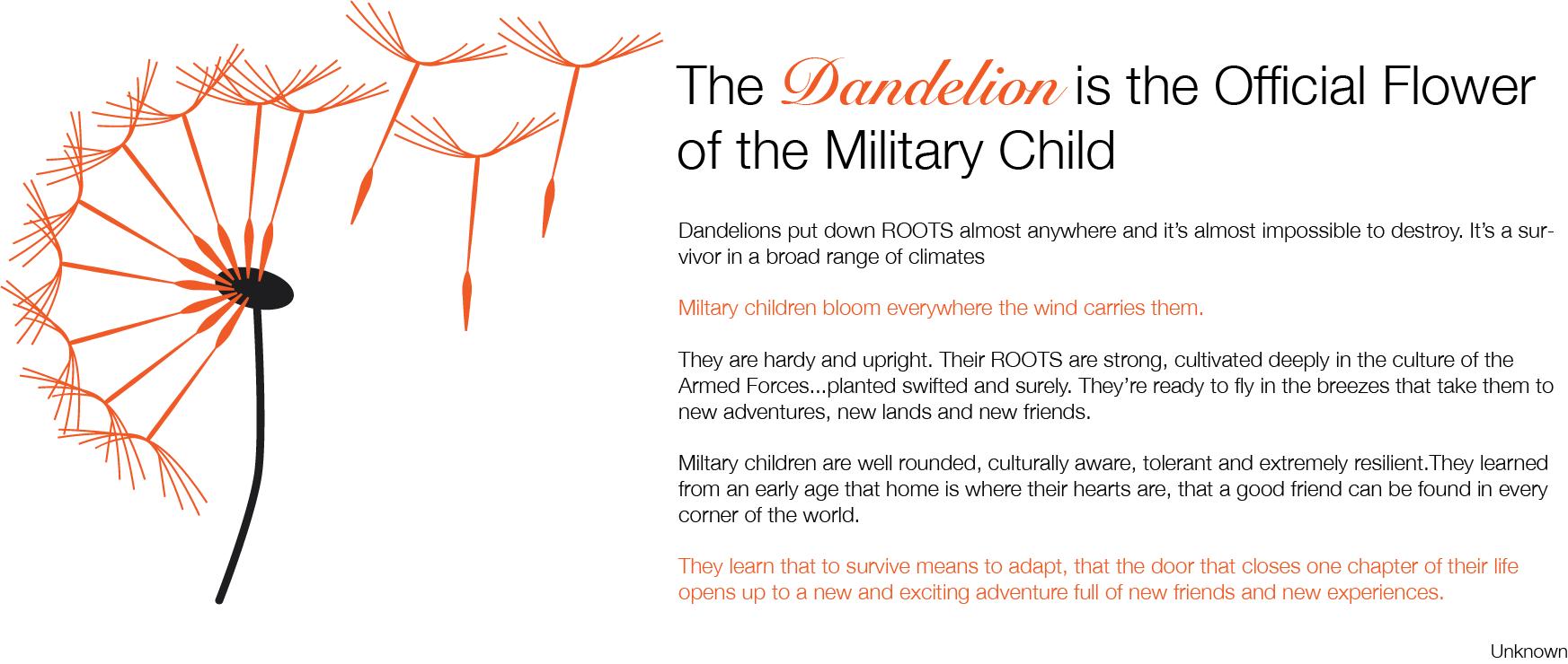 Military Child Dandelion Poem